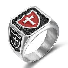 cross rings men images Red enamel shield cross rings mens stainless steel knights templar jpg