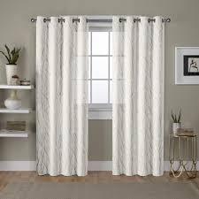 Winter Window Curtains Woodland Winter White Gold Printed Metallic Branch Sheer Textured
