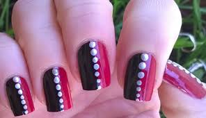 easy nail art designs 1 diy pretty black u0026 pink u0026 silver