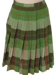 Ugly Green Sixties Vintage Plaid Skirt 60s No Label Womens Green Brown