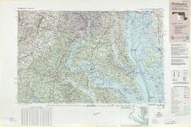 Maps Dc Large Detailed Topographic And Bathymetric Map Of Washington D C