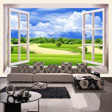 new interior design natural scenery outside the window 3d wall