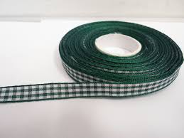 gingham ribbon forest green 2 metres or roll x 10mm gingham ribbon