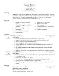 resume exles for fast food crew member mcdonalds resume duties food and restaurant