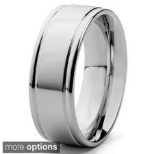 mens wedding rings men s polished stainless steel flat grooved 8mm band ring free