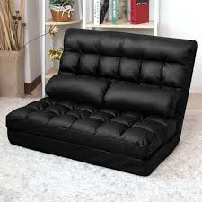 Black Leather Sofa Bed Lounge Sofa Bed Double Size Floor Recliner Folding Chaise Chair