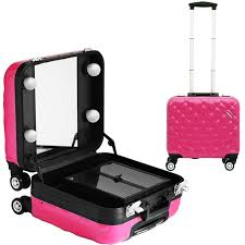rolling makeup case with lighted mirror professional cosmetic case trolley beauty box makeup case with