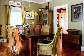 khaki paint color with wicker chairs dining room traditional and