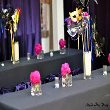purple and pink masquerade party vases table centerpieces