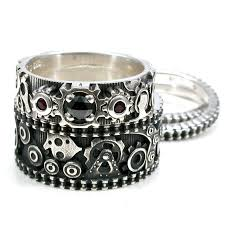 gear wedding ring steunk gear ring engagement set womens stacking bike
