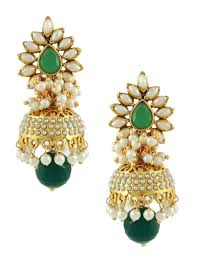 jhumki earring buy emerald green traditional rajwadi jhumki earrings jewellery