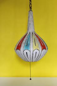 Ceramic Pendant Lights by Mid Century Ceramic Pottery Pendant Hanging Lamp With Great