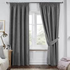Pencil Pleat Curtains Dante Charcoal Grey Luxury Soft Chenille Lined Pencil Pleat