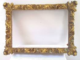 antique gold gilt gesso wood rococo picture frame deep relief