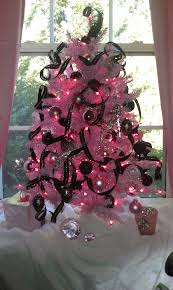 my pink christmas tree pink lights with black and silver