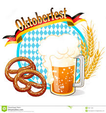 cartoon beer no background round oktoberfest celebration banner with beer pretzel wheat ea