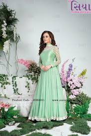 pista green color pista color with mirror work jorjet fabric anarkali dress gown