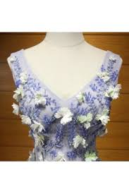 bluish grey unique bluish grey prom dress long with beaded flowers for girls