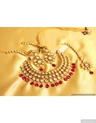 ruby necklace set images Layered round kundan semi bridal ruby necklace set jpg