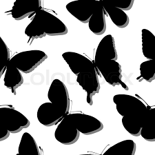 beautiful seamless background with butterflies silhouettes
