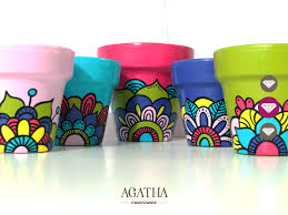 macetas pintadas a mano set x 5 agatha creaciones pinterest