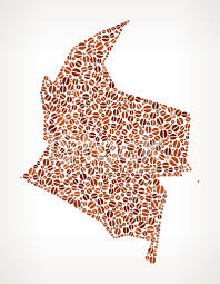colombia map vector colombia map on royalty free coffee bean pattern background stock