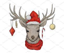 christmas deer christmas deer illustrations creative market