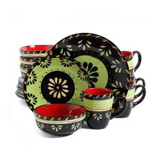 simplemente delicioso escolta 16 piece dinnerware set green