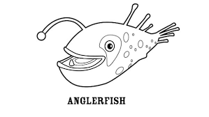 smiling angler fish colouring happy colouring