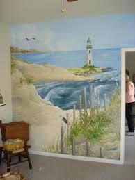 murals seascape custom painted mural lighthouse