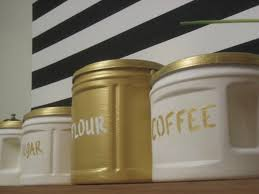 Martha Stewart Kitchen Canisters Diy Gilded Canisters Made From Plastic Folgers Coffee Cans
