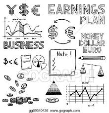 vector art hand draw business finance doodle sketch money icon
