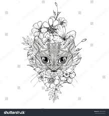 hand drawn ink doodle cat flowers stock vector 436912540
