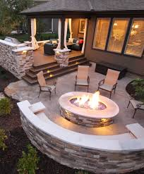 Backyard Concrete Ideas Features Include U2013 Composite Deck U2013 Stone Grilling Station