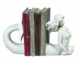 amazon com creative co op cream resin mermaid bookends home