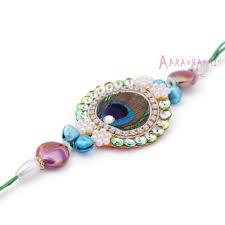 buy rakhi online peacock feathers zari diamond rakhi buy online