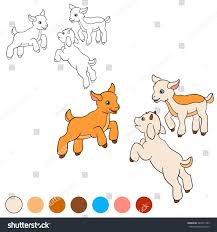 coloring page color me goat three stock vector 440371285