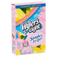 wyler s light singles to go nutritional information wyler s light pink lemonade low calorie drink mix 10 count 1 36 oz