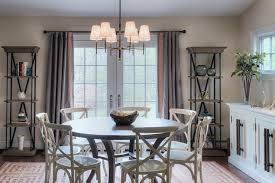 Dark Dining Room Dark Stained Round Dining Table With White X Back Chairs