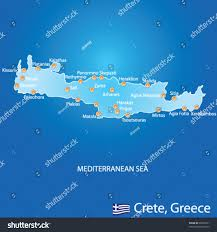 Map Of Crete Greece by Island Crete Greece Map On Blue Stock Vector 98963231 Shutterstock