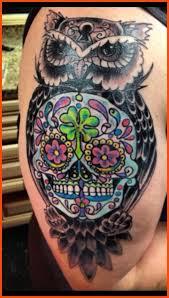 owl and sugar skull design