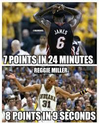 Pacers Meme - nba memes on twitter lebron james vs reggie miller heat