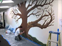 wonderful girl kid bedroom decoration design ideas using light good looking picture of super large dark brown oak tree mural painting ideas for home interior