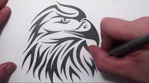 how to draw an american eagle head tribal tattoo design style