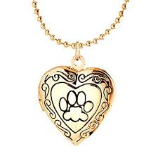 rose gold animal necklace images Youfeng cute dog paw print love heart lockets animal jpg