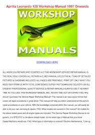 aprilia leonardo 125 workshop manual 1997 onw by cassondra