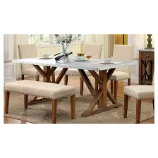 sun u0026 pine iron table top nail head trimmed x crossed base dining