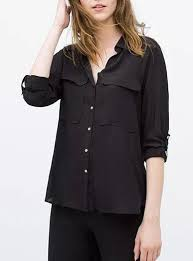 womens black blouse black shirt large pockets sleeves pointed collar