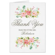 bridal shower thank you cards bridal shower thank you note cards zazzle