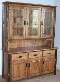 oak hutch with glass doors
